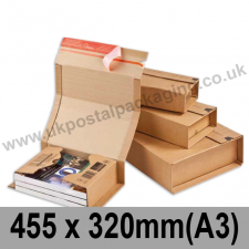 ColomPac Corrugated Wraparound/Book Box, 455 x 320 x 70mm (A3) - Pack of 20
