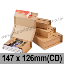 ColomPac Corrugated Wraparound/Book Box, 147 x 126 x 55mm (CD) - Pack of 20
