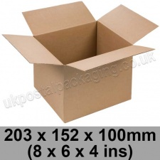 Single Wall Cartons 203 x 152 x 100mm (8 x 6 x 4 ins) - Pack of 25