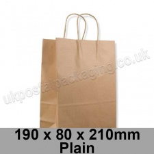 EzePack, Plain Manilla Kraft Carrier Bags 190 x 80 x 210mm