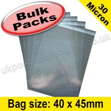 Cello Bag, with re-seal flaps, Size 40 x 45mm - 1,000 pack