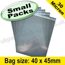 Cello Bag, with re-seal flaps, Size 40 x 45mm - Small Packs