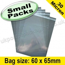 Cello Bag, with re-seal flaps, Size 60 x 65mm - Small Packs