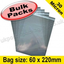 Cello Bag, with re-seal flaps, Size 60 x 220mm - 1,000 Pack