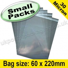 Cello Bag, with re-seal flaps, Size 60 x 220mm - Small Packs