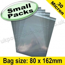 Cello Bag, with re-seal flaps, Size 80 x 162mm - Small Packs