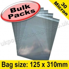 Cello Bag, with re-seal flaps, Size 125 x 310mm - 1,000 pack