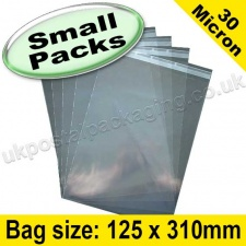 Cello Bag, with re-seal flaps, Size 125 x 310mm - Small Packs