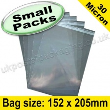 Cello Bag, with re-seal flaps, Size 152 x 205mm - Small Packs
