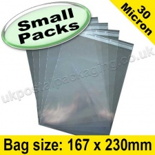 Cello Bag, with re-seal flaps, Size 167 x 230mm - Small Packs