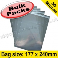 Cello Bag, with re-seal flaps, Size 177 x 240mm - 1,000 pack