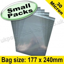 Cello Bag, with re-seal flaps, Size 177 x 240mm - Small Packs