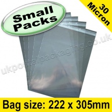 Cello Bag, with re-seal flaps, Size 222 x 305mm - Small Packs