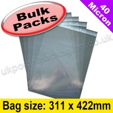 Cello Bag, with re-seal flaps, Size 311 x 422mm - 1,000 Pack