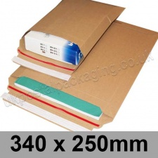 EzePack, Rigid corrugated cardboard envelope, 340 x 250mm - Pack of 20