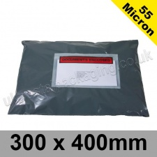 55mic, Grey Polythene Mailing Bags, 300 x 400mm, (12 x 16'') - Per 50 bags
