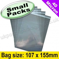 Cello Bag, with re-seal flaps, Size 107 x 155mm - Small Packs