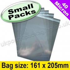 Cello Bag, with re-seal flaps, Size 161 x 205mm - Small Packs