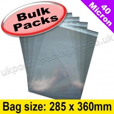 Cello Bag, with re-seal flaps, Size 285 x 360mm - 1,000 Pack