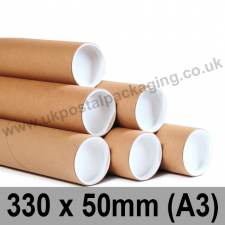 Cardboard Postal Tubes 330 x 50mm (A3) - Pack of 25