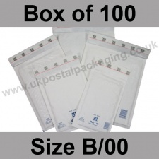 Mail Lite, White Bubble Lined Padded Bags, Size B/00 - Box of 100
