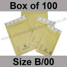Mail Lite, Gold Bubble Lined Padded Bags, Size B/00 - Box of 100