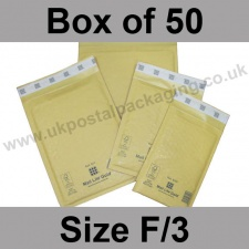 Mail Lite, Gold Bubble Lined Padded Bags, Size F/3 - Box of 50