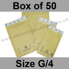 Mail Lite, Gold Bubble Lined Padded Bags, Size G/4 - Box of 50
