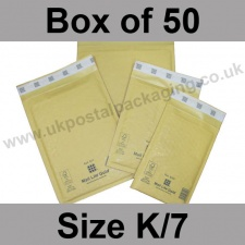 Mail Lite, Gold Bubble Lined Padded Bags, Size K/7 - Box of 50