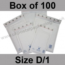 Mail Lite, White Bubble Lined Padded Bags, Size D/1 - Box of 100
