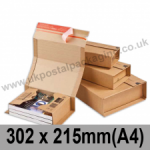 ColomPac Corrugated Wraparound/Book Box, 302 x 215 x 80mm (A4) - Pack of 20