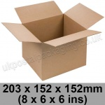 Single Wall Cartons 203 x 152 x 152mm (8 x 6 x 6 ins) - Pack of 25