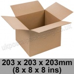 Single Wall Cartons 203 x 203 x 203mm (8 x 8 x 8 ins) - Pack of 25