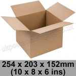 Single Wall Cartons 254 x 203 x 152mm (10 x 8 x 6 ins) - Pack of 25