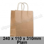 EzePack, Plain Manilla Kraft Carrier Bags 240 x 110 x 310mm