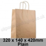 EzePack, Plain Manilla Kraft Carrier Bags 320 x 140 x 420mm