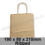 EzePack, Ribbed Manilla Kraft Carrier Bags 190 x 80 x 210mm