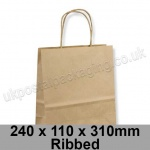 EzePack, Ribbed Manilla Kraft Carrier Bags 240 x 110 x 310mm