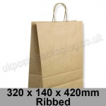 EzePack, Ribbed Manilla Kraft Carrier Bags 320 x 140 x 420mm