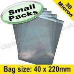 Cello Bag, with re-seal flaps, Size 40 x 220mm - Small Packs