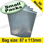 Cello Bag, with re-seal flaps, Size 87 x 113mm - Small Packs