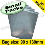 Cello Bag, with re-seal flaps, Size 90 x 130mm - Small Packs
