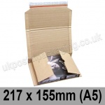 EzePack Corrugated Wraparound/Book Box, 217 x 155 x 60mm (A5) - Pack of 20
