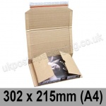EzePack Corrugated Wraparound/Book Box, 302 x 215 x 80mm (A4) - Pack of 20