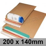 EzePack, Rigid corrugated cardboard envelope, 200 x 140mm - Pack of 20