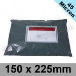 45mic, Grey Polythene Mailing Bags, 150 x 225mm, (6 x 9'') - Per 50 bags
