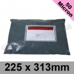 50mic, Grey Polythene Mailing Bags, 225 x 313mm, (9 x 12.3'') - Per 50 bags
