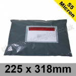 55mic, Grey Polythene Mailing Bags, 225 x 318mm, (8.75 x 12.5'') - Per 50 bags