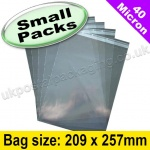 Cello Bag, with re-seal flaps, Size 209 x 257mm - Small Packs