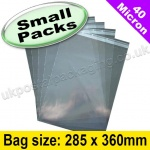 Cello Bag, with re-seal flaps, Size 285 x 360mm - Small Packs